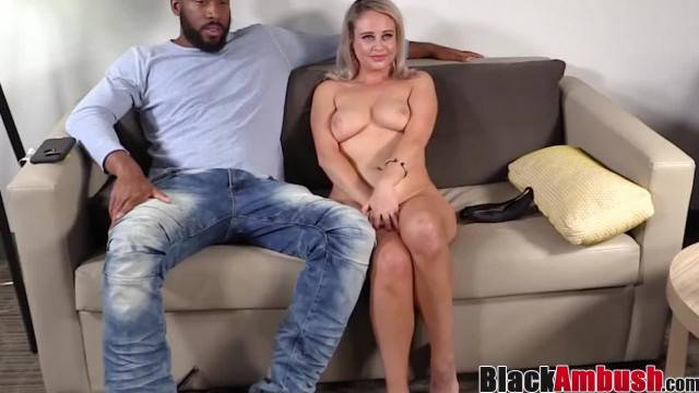 Blonde Elle Creamed by first Black Cock in Kinky Casting