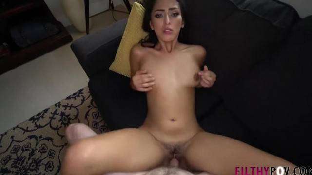 Cute brunette step sister works brother cock in POV fuck