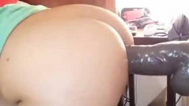 Stretching out her Asshole with Huge Black Balled Dildo