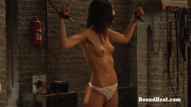 Skinny sex slave takes multiple punishments in hot lesbian BDSM fantasy