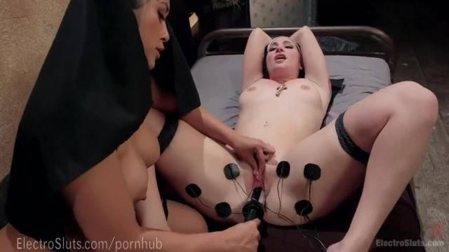 Electro Naughty Nuns try their new BDSM toys