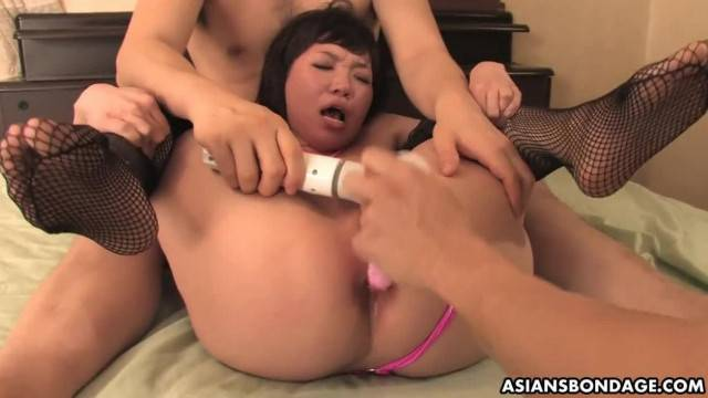 Asian wife toyed and spit roasted in kinky threesome