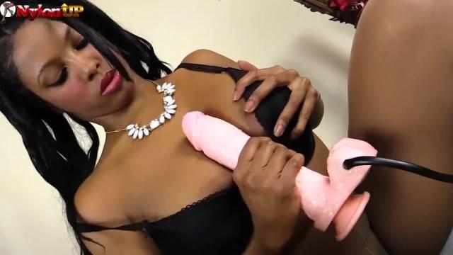 Horny Ebony Girl Footjob in Tan Pantyhose