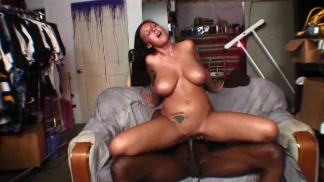 Busty brunette rides BBC and gets cum all over her big boobs