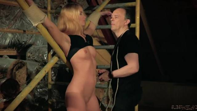 BDSM for Big Tits Blonde Torturing her Nipples and Ass