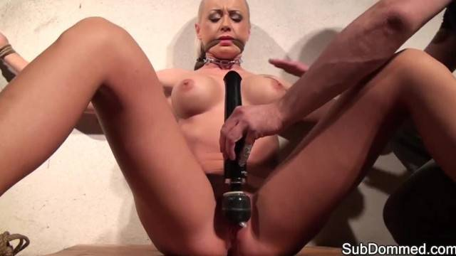 Tied up silenced slave get harsh pussy punishment with vibrator