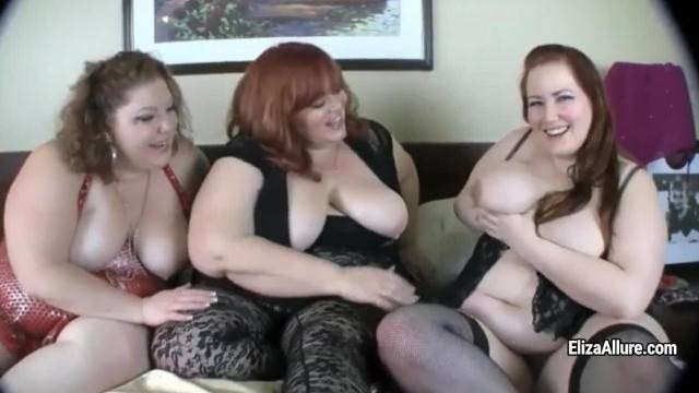 BBW Eliza Alure with her two Lesbo GF Toy Masturbation
