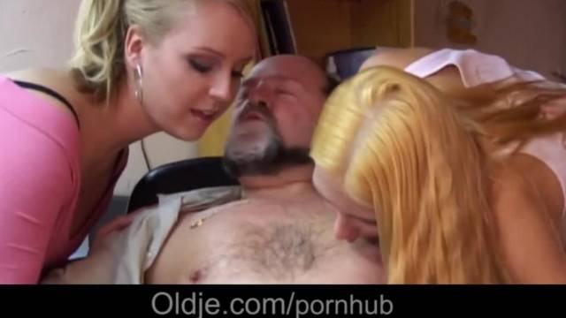 Old Fart and two Blonde have Perv 3some with Extreme Tongues Kissing