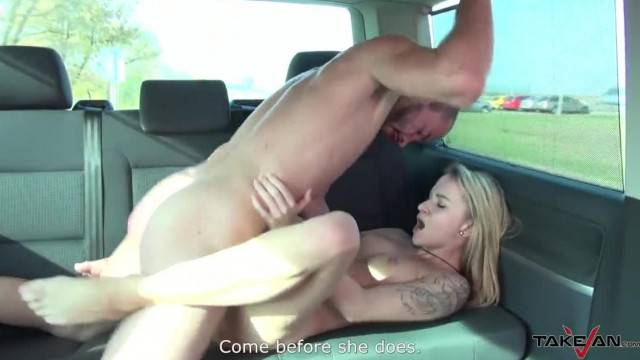 Stunning blonde babe convinced to fuck guy in the van