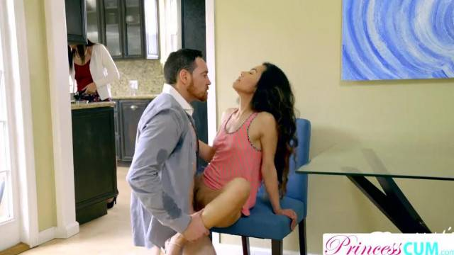 StepDad cant Pull out Filling Asian Teen Pussy right next to Mom