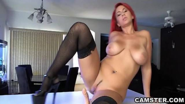 Redhead with Big Natural Tits Masturbates on Kitchen Counter