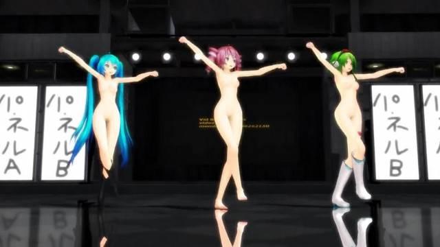 MMD Teto Miku Gumi Girls Naked Dancing