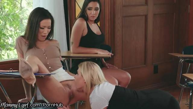MommysGirl College Prof makes MILF and Step Teen Eat her Pussy