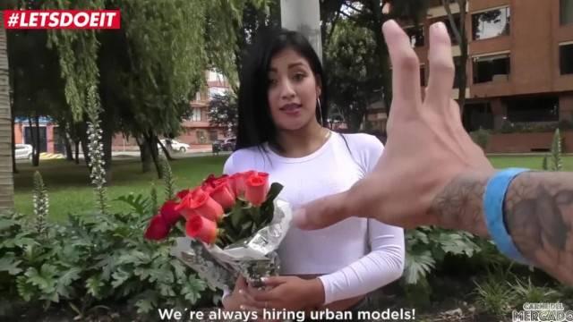 Brunette Hottie Takes Sex over Roses LETSDOEIT