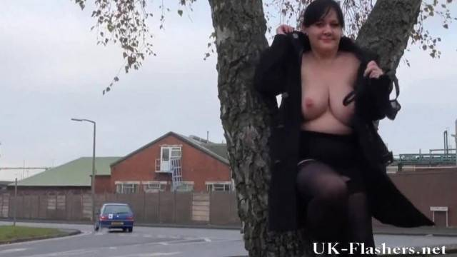 Public Exhibitionism and Outdoor BBW Flashing of Tits with Amateur MILF