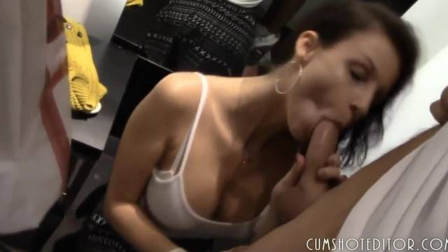 Real German Amateur Eating Cum in the Changing Room