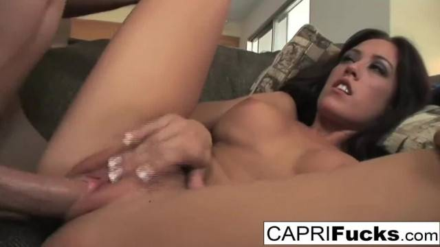 Brunette Babe Capri Fucks this guy like A Champ
