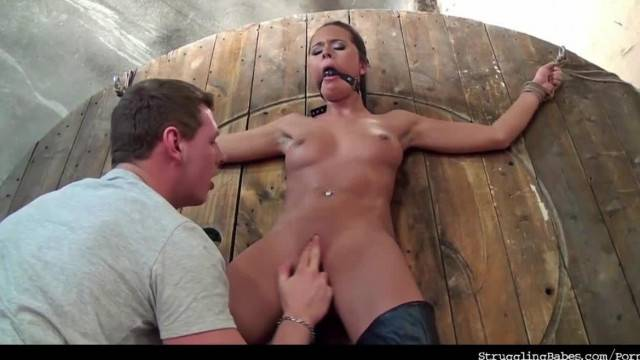 Bound Sub Mia Ballgagged and Slowly Vibed to Orgasm