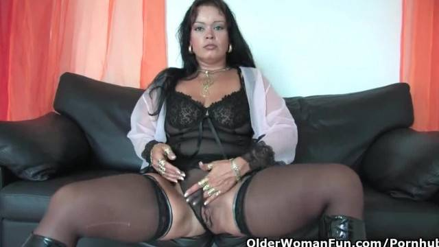Chubby Soccer Mom in Stockings Works her Clit Hard
