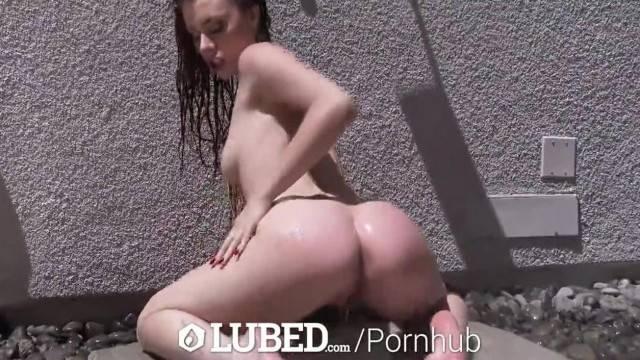 LUBED Brunette Anya Olsen Hardcore Lubed up Fuck