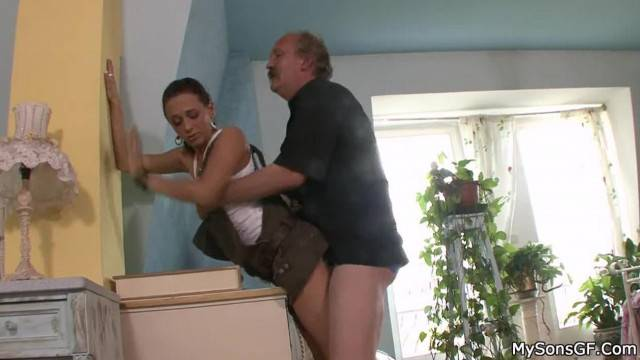 Pervy Father in Law Licks and Fucks his Son Girlfriend