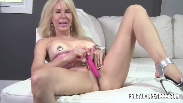 Mature Cougar Erica Lauren Suctions her Nipples then Masturbates