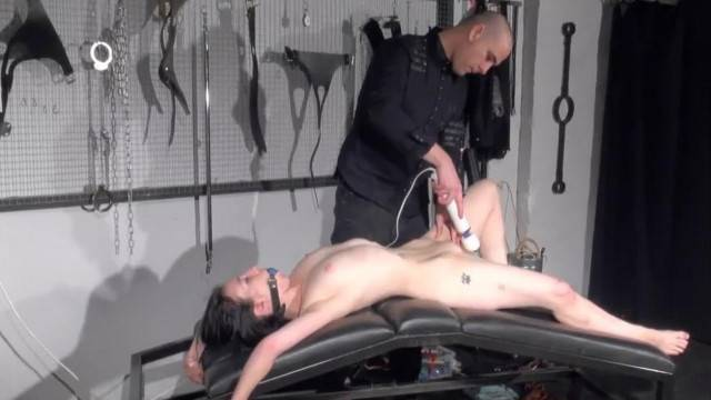 Gagged Slave gets Sextoy Domination and Spanking while deepthroating