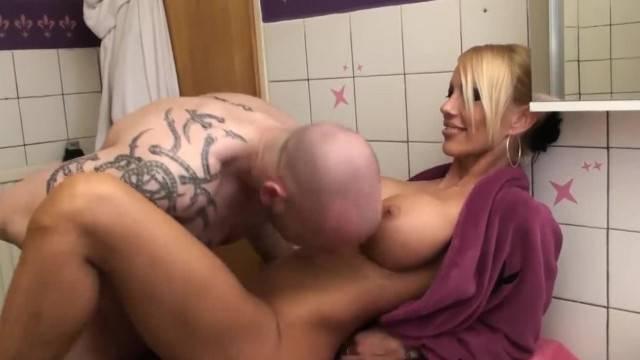 German Blonde Fucked by Boyfriend in Laundry Room