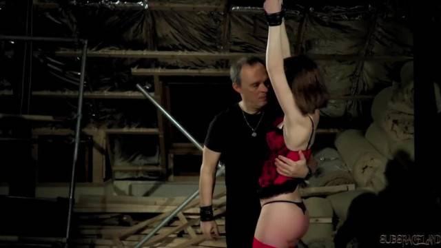 Intense Punishment and Spanking for Submissive Teen Enduring Bondage Sex