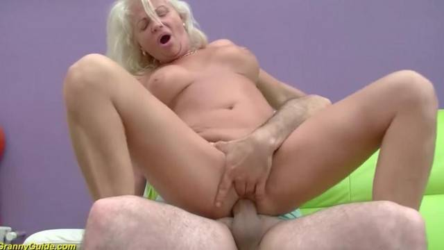 Kinky granny gets anally fucked by young cock before eating cum