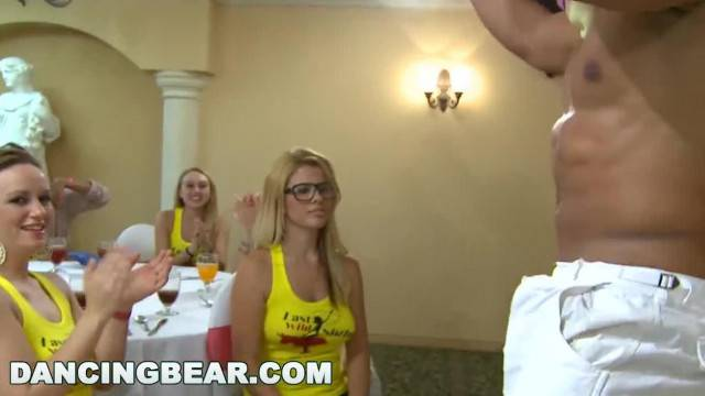 DANCING BEAR Group of Horny Hoes taking Dick from Male Strippers