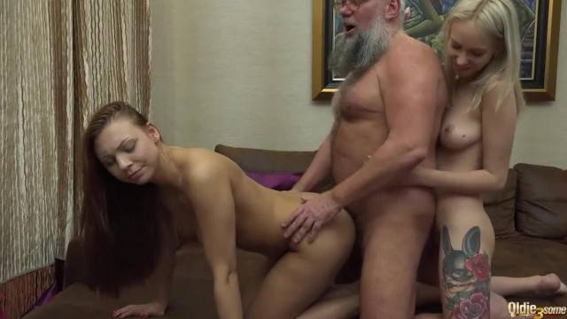 Blonde and Brunette Teens in old Young Threesome Fucked by Grandpa Cock
