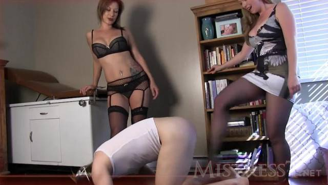 Double Domme Ballbusting with Mistress T and Jasmine