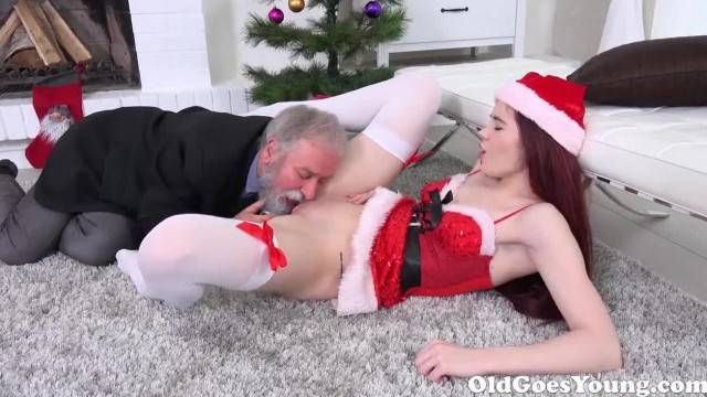 Old Man from Next door receives Young Pussy for Xmas