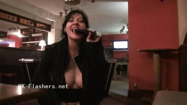 Mature Curvy Brunette with Big Tits Masturbates in Restaurants