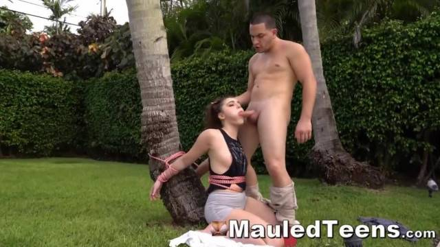 Teenager Chick Tied outside and Face Fucked before Pussy Slammed