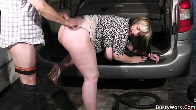 Busty BBW Woman at Work takes sex break