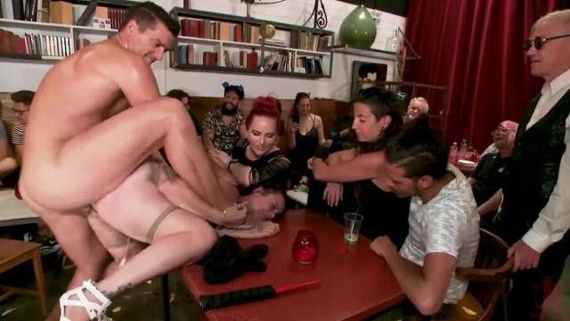 Public humiliation and doggystyle fuck for curvy slave Bella Rossi