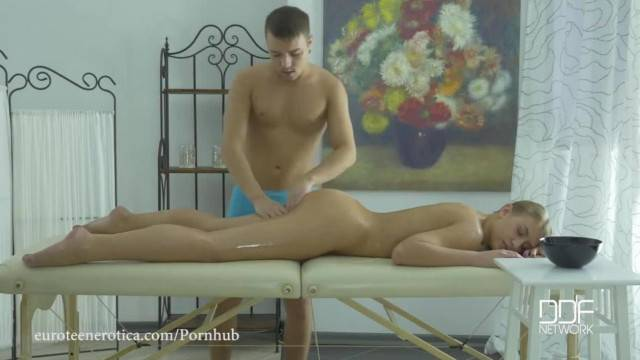 EuroTeen Naughty Masseuse Oiled down and Fucked Hard