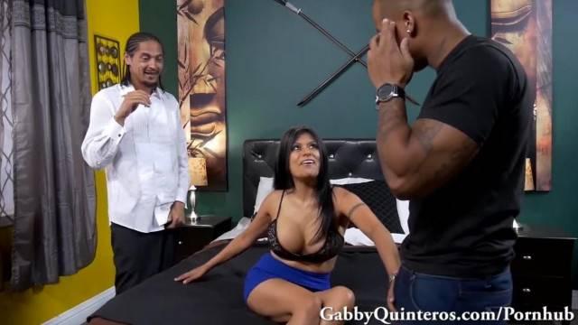 Mexican MILF Gabby Quinteros Takes Big Black Cock 3way