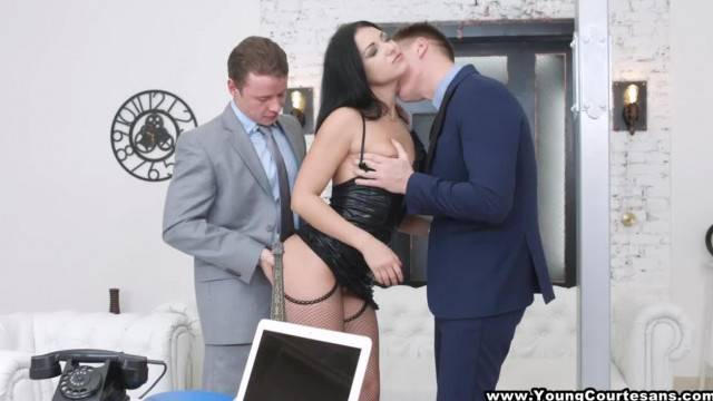 Young Brunette Courtesan for two Horny Businessmen