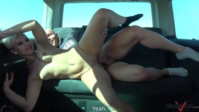 Short Hair Rich Bitch Filled with Cum in Driving Car