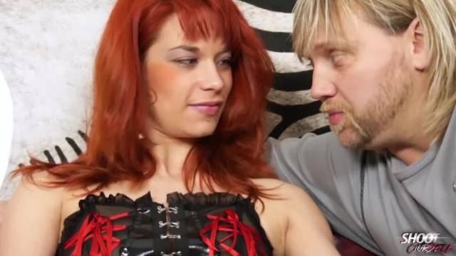 Latex Redhead Domina Fucked Hard before getting Cum on Tits