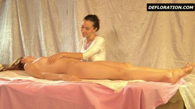 Cute Teen having her Hairy Pussy Massaged