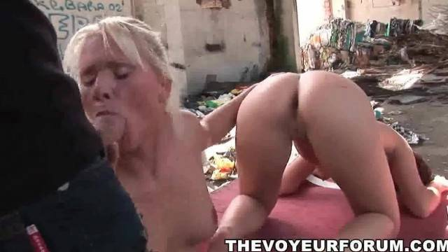 Tied up Bi Babe gets her Pussy Licked by a Blonde Honey before some Dick