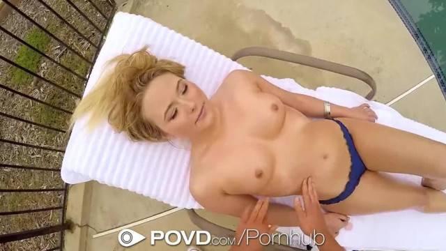 POVD Beautiful Blonde Alyssa Cole Rubbed down Fuck and Facial