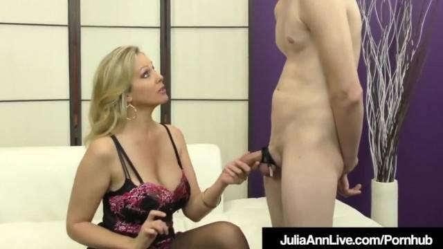 Femdom MILF Julia Ann Teases A Slave Cock with Stockings