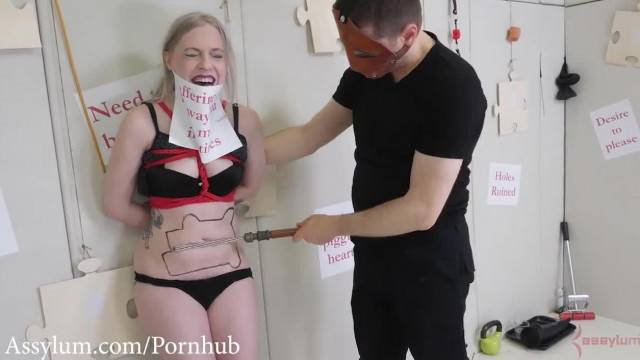 Hot little Blonde gets Bound Beaten in Belly before Anal and Ass to Mouth