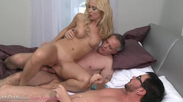 MOM Blonde MILF Takes two Large Cocks in Threesome
