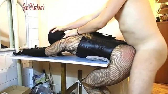 10 Inch Dildo Throating and Brutal Ass Fucking Ring Gagged Slave Slut
